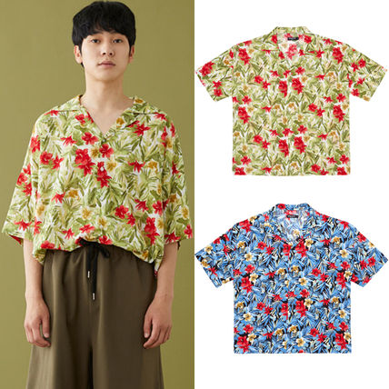 Tropical Patterns Unisex Street Style Cotton Short Sleeves