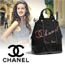 CHANEL Calfskin Blended Fabrics 2WAY Chain Elegant Style Totes