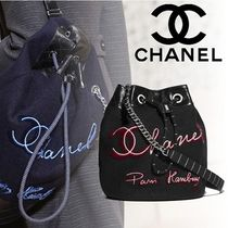 CHANEL Calfskin 2WAY Chain Purses Elegant Style Totes