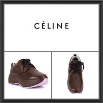 CELINE Platform Lace-up Plain Leather Platform & Wedge Sneakers