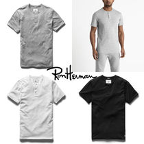 Ron Herman Pullovers Henry Neck Street Style Plain Cotton Short Sleeves