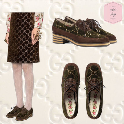 c990b83e15f GUCCI 2018 SS Monoglam Lace-up Casual Style Suede Blended Fabrics by ...