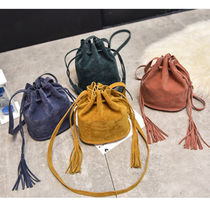 Casual Style Suede Tassel Plain Purses Fringes Dark Brown