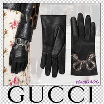 GUCCI Leather Elegant Style Leather & Faux Leather Gloves