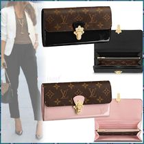 Louis Vuitton MONOGRAM Monogram Blended Fabrics Bi-color Leather Long Wallets