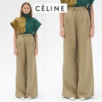 CELINE Casual Style Linen Plain Long Oversized Khaki Pants