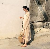 Casual Style Plain Cotton Long Gowns Puff Sleeves Cardigans
