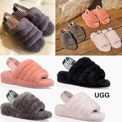 Open Toe Casual Style Sheepskin Blended Fabrics Plain