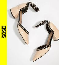 ASOS Casual Style Faux Fur Studded Block Heels