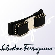 Salvatore Ferragamo Barettes Studded Leather Brass Elegant Style Clips
