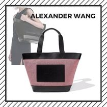 Alexander Wang Casual Style Unisex Canvas Street Style A4 Plain Totes