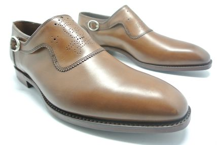 Plain Toe Monk Leather Loafers & Slip-ons