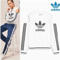 adidas Crew Neck Casual Style Street Style Plain Cotton Medium