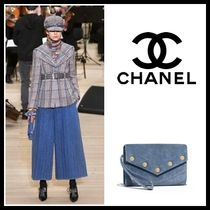 CHANEL Suede 2WAY Plain Elegant Style Clutches