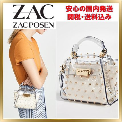 Studded 2WAY Plain PVC Clothing Elegant Style Crossbody