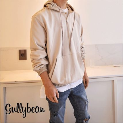 Hoodies Street Style Long Sleeves Plain Cotton Hoodies