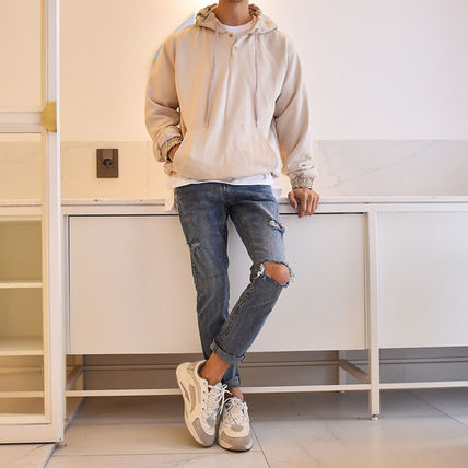 Hoodies Street Style Long Sleeves Plain Cotton Hoodies 9