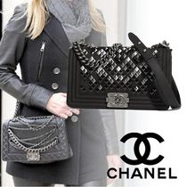 CHANEL Lambskin Blended Fabrics Studded 2WAY Chain Elegant Style