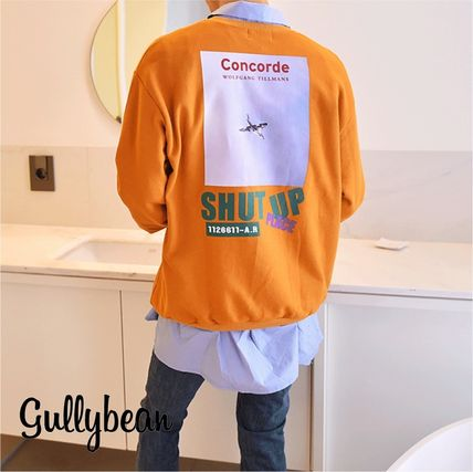 Sweatshirts Street Style U-Neck Long Sleeves Plain Cotton Sweatshirts