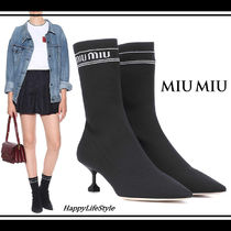 MiuMiu Plain Elegant Style Ankle & Booties Boots