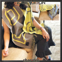 Louis Vuitton Unisex Wool Bi-color Plain Fringes Scarves