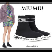 MiuMiu Round Toe Rubber Sole Casual Style Blended Fabrics Bi-color