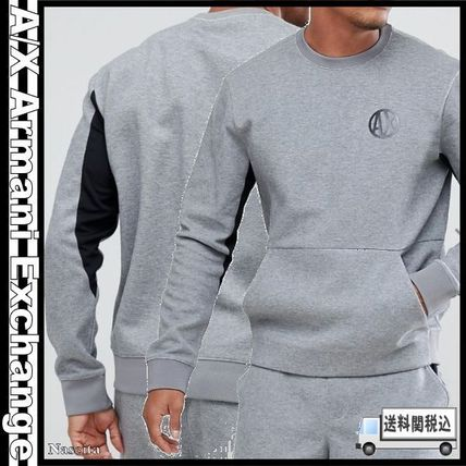 Crew Neck Pullovers Unisex Street Style Long Sleeves Plain. A X Armani  Exchange 7f55f40f2790d