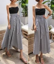 Flared Skirts Gingham Cotton Skirts