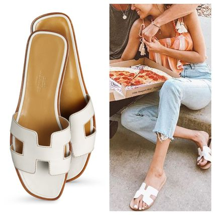 Street Style Plain Leather Sandals