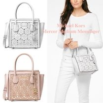 Michael Kors MERCER Flower Patterns 2WAY Plain Leather With Jewels Elegant Style