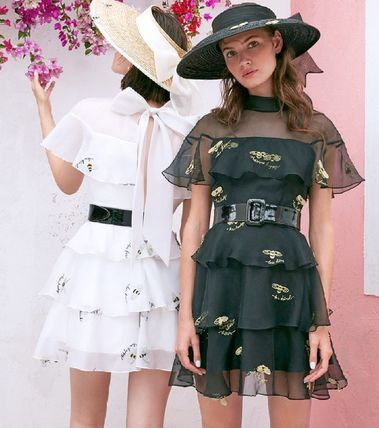 Short Silk Puffed Sleeves Flared Other Animal Patterns