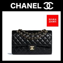 CHANEL Calfskin Chain Plain Party Style Handbags