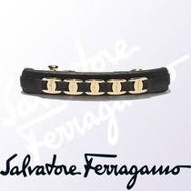 Salvatore Ferragamo Barettes Leather Brass Elegant Style Clips
