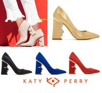 Katy Perry Casual Style Street Style Plain Leather Block Heels