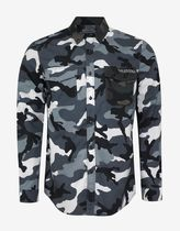 VALENTINO Camouflage U-Neck Cotton Shirts