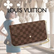 Louis Vuitton 2WAY Chain Leather Party Style Party Bags