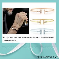Tiffany & Co Tiffany T Bangles Unisex Blended Fabrics Plain 18K Gold Bracelets
