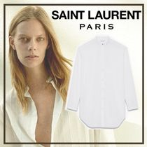Saint Laurent Stripes Long Sleeves Cotton Long Shirts & Blouses