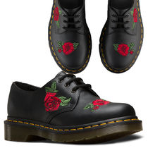 Dr Martens Flower Patterns Lace-up Casual Style Unisex Street Style