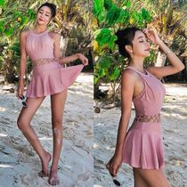 Street Style Plain Halter Lace Up Beach Cover-Ups