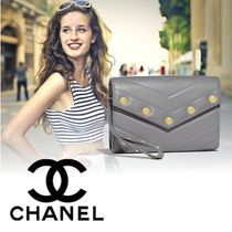 CHANEL Lambskin Studded Plain Elegant Style Clutches