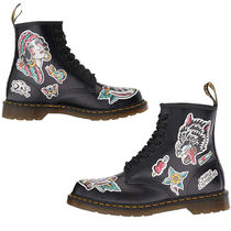 Dr Martens Flower Patterns Unisex Street Style Leather Flat Boots