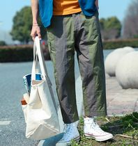 Stripes Street Style Cotton Oversized Khaki Cargo Shorts