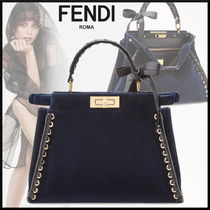 FENDI PEEKABOO Blended Fabrics 2WAY Plain Leather Elegant Style Handbags