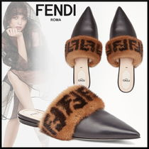 FENDI Monogram Blended Fabrics Leather Sabo Elegant Style
