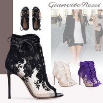 Gianvito Rossi Lace-up Suede Plain Pin Heels Elegant Style Lace-up Boots