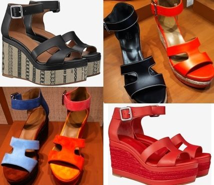 a75fa6dc7810 ... Sandals 15 HERMES Platform   Wedge Open Toe Leather Platform   Wedge ...