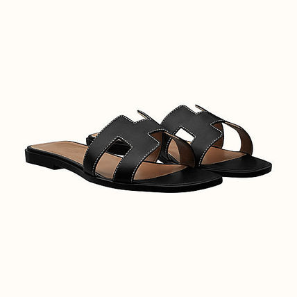 HERMES More Sandals Leather Metallic Sandals Sandal 3