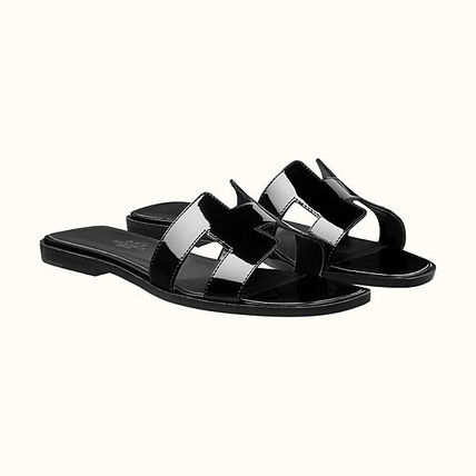 HERMES More Sandals Leather Metallic Sandals Sandal 7