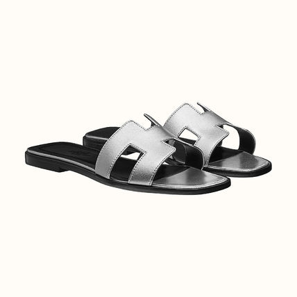 HERMES More Sandals Leather Metallic Sandals Sandal 15